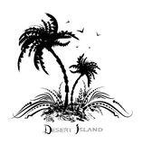 Deserted Island. Graphic illustration of a desert island in the sea Royalty Free Stock Photography