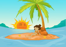Deserted island. Young girl on a deserted island vector illustration