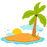 Deserted island. A deserted island with a coconut palm tree, sun and sea shells royalty free illustration