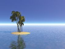 Deserted island Illustration. Deserted island with palm trees illustration Royalty Free Stock Photography