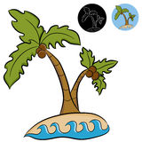 Deserted Island Palm Trees. An image of a deserted island with palm trees royalty free illustration