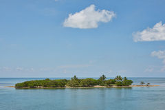 Deserted Island. Deserted tropical island, islet in the middle of the ocean Royalty Free Stock Images