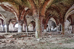 Deserted medieval church basement Royalty Free Stock Photography