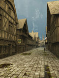 Deserted medieval Street Scene. Illustration of an empty deserted street Scene set in a European town during the Middle Ages or medieval period, 3d digitally royalty free illustration