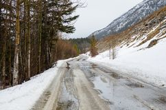 Deserted Mountain Road in Winter royalty free stock images