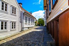 Deserted narrow street in the old town, Norway Royalty Free Stock Photography