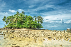Deserted ocean shore against the background of a stormy sky Royalty Free Stock Photos