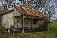 Deserted old ice cream general store along Texas highway in Eastern. Ghost, retro royalty free stock photography