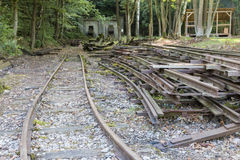 Deserted old mine tracks in woods. Unused small rails in Bohemia, Czech Republic stock images