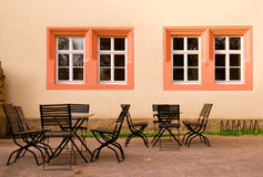Deserted outdoor cafe in Autumn Stock Photography
