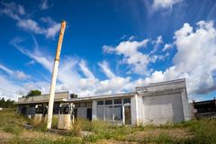 Deserted Petrol Station. A deserted fuel or petrol station with the blue skies in the background royalty free stock photography