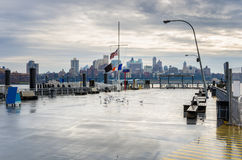 Deserted Pier on a rainy day in New York Stock Images