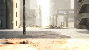 A deserted post-apocalyptic city. The camera flies through the empty ruined city. Deserted post-apocalyptic street in
