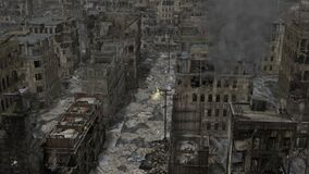 Deserted Post Apocalyptic city pan down with fire, smoke and birds