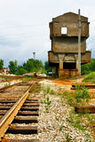 Deserted railway. Old rusty railway in a deserted mine Royalty Free Stock Image