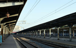 Deserted train/rail platform at Gara de Nord, Bucharest, Romania Royalty Free Stock Photography