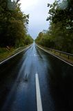 Deserted road on rainy day. Deserted two lane road through the woods on a rainy day Royalty Free Stock Photography