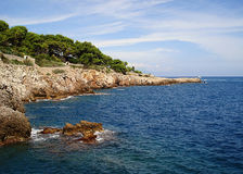 Deserted rocky coast cape Antibes Royalty Free Stock Photo