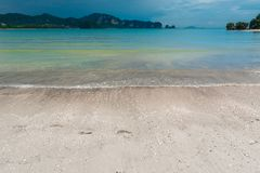 A deserted sandy beach and a beautiful sea before the rain. In Asia Stock Photography