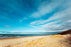 Deserted sandy beach Royalty Free Stock Image