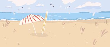 Free Deserted Sandy Beach Landscape. Summertime Scenery Of Desert Sea Shore With Umbrellas, Seagulls In Cloudy Sky And Royalty Free Stock Photos - 208116148