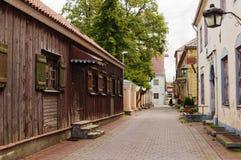 Deserted small street city of Pjarnu Stock Photos