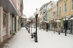 Deserted snow-covered center of Pomorie in Bulgaria royalty free stock photography
