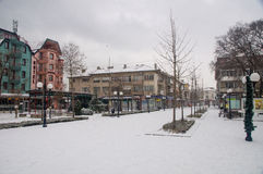 Deserted snow-covered center of Pomorie, Bulgaria stock image