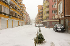 Deserted snow covered streets of the resort of Pomorie, Bulgaria, 31 december royalty free stock images