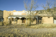 Deserted southwestern house on Mescalero Apache Indian Reservation near Ruidoso and Alto, New Mexico stock photo