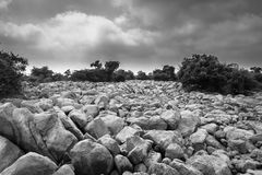 Deserted Stone Lanscape. Black and white shot of deserted landscape. Stone are due to the illegal mining in the area Royalty Free Stock Images