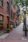 Deserted Stone Sidewalk in Beacon Hill, Boston Royalty Free Stock Photo