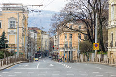 The deserted street in the center of the Bulgarian capital Sofia Royalty Free Stock Images