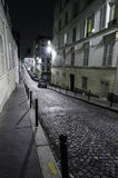 Montmartre street by night. Rue Berthe in Paris at night Royalty Free Stock Photo