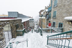 Deserted street in Quebec City Champlain Stock Photo