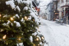 Deserted street in Quebec City Champlain Royalty Free Stock Photography