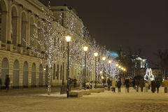 Deserted street in Warsaw City decorated. For Christmas Holidays Royalty Free Stock Image
