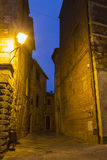 Deserted streets in the medieval town of Montepulciano at night, Tuscany Royalty Free Stock Images