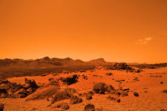 Deserted terrestial planet. In orange colors Stock Images