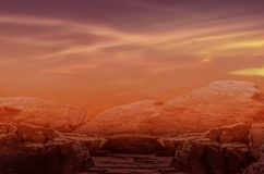Deserted terrestrial planet . Fantasy Apocalypse . Dramatic nature background . Volcanic breed of a stone .  hydrogen sulphide . Planet Hell . Lifeless earth Royalty Free Stock Photography