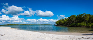 Deserted tropical island beach Paradise on the west coast of Florida. White sand and tranquil water at the beach on an island off the west coast of southern stock photography