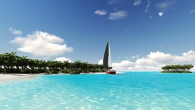 Deserted tropical island with a sailboat