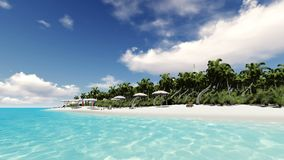 Deserted tropical island with a sailboat. And sun loungers stock video footage