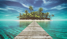 Deserted tropical paradise. Landscape of a pontoon in the middle of the ocean to a island. This is a 3d render illustration Royalty Free Stock Image