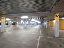 Deserted underground concrete car park Stock Images