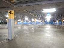 Deserted underground concrete car park Royalty Free Stock Photography