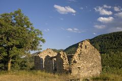 Deserted village of Aragon, in the Pyrenees Mountains, Province of Huesca, Spain Stock Images