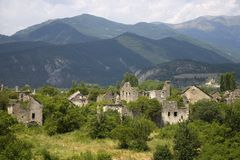 Deserted village of Aragon, in the Pyrenees Mountains, Province of Huesca, Spain Stock Photo