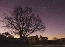 Deserted village. Night photography deserted village from Navarra Stock Photo