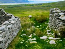 The deserted village at Slievemore, Achill, Mayo, Ireland. Set at the foot of the south-facing slope of Slievemore mountain near Keel, the Deserted Village royalty free stock images